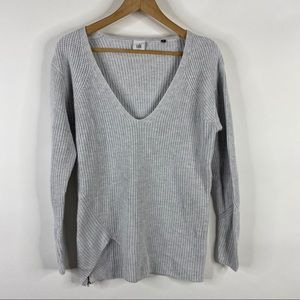 CAbi Sweater Deep V Pullover Side Zip Cotton Knit